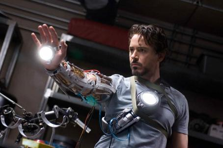 "Tony Stark In his workshop,  (Robert Downey Jr.) works on a prototype gauntlet for his suit of armor in ""Iron Man."" Photo Credit: Zade Rosenthal. © 2008 MVLFFLLC.  ™ & © 2008 Marvel Entertainment.  All rights reserved."