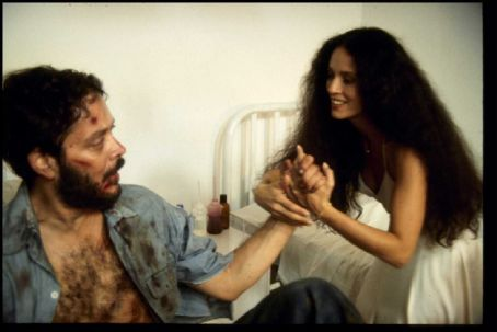Sonia Braga Raul Julia as Valentin Arregui with  as Spider Woman in City Lights Pictures' Kiss of the Spider Woman.