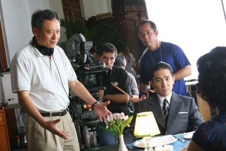 Lust, Caution Director Ang Lee (left) and Tony Leung (right) on the set of LUST, CAUTION, a Focus Features release.