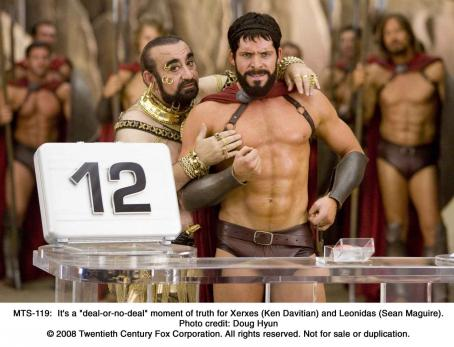 Sean Maguire It's a 'deal-or-no-deal' moment of truth for Xerxes (Ken Davitian) and Leonidas ().