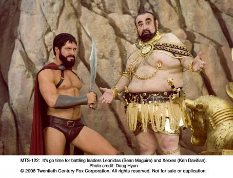 Sean Maguire It's go time for battling leaders Leonidas () and Xerxes (Ken Davitian). Photo credit: Doug Hyun