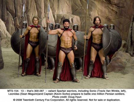 Sean Maguire 13 -- that's 300-287 -- valiant Spartan warriors, including Sonio (Travis Van Winkle, left), Leonidas ()and Captain (Kevin Sorbo) prepare to battle one million Persian soldiers. Photo credit: Doug Hyun