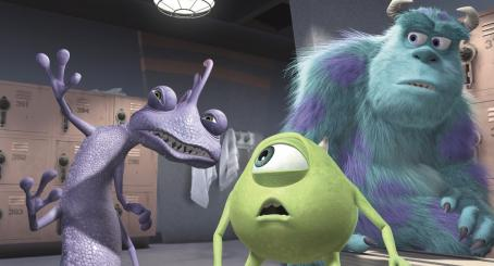 Monsters, Inc. Randall (Steve Buscemi), Mike Wazowski (Billy Crystal) and Sullivan (John Goodman) in Disney's  - 2001