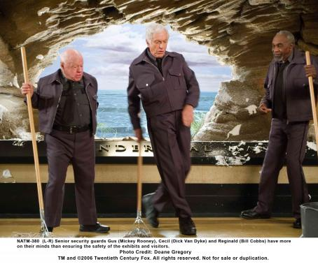 Night at the Museum (L-R) Senior security guards Gus (Mickey Rooney), Cecil (Dick Van Dyke) and Reginald (Bill Cobbs) have more on their minds than ensuring the safety of the exhibits and visitors. Photo credit: Doane Gregory