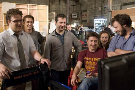 David Gordon Green (Left to right) Seth Rogen, James Franco, Judd Apatow, , Shauna Robertson, and Evan Goldberg on the set of Columbia Pictures' action-comedy Pineapple Express. © 2008 Columbia Pictures Industries, Inc.