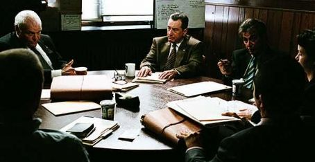 Brian Dennehy L to R: , Robert De Niro, Al Pacino and Carla Gugino in RIGHTEOUS KILL.