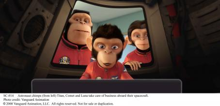 Patrick Warburton Astronaut chimps (from left) Titan (voice by ), Comet (voice by Carlos Alazraqui) and Luna (voice by Cheryl Hines) take care of business aboard their spacecraft. Photo credit: Vanguard Animation, LLC.  All rights reserved.