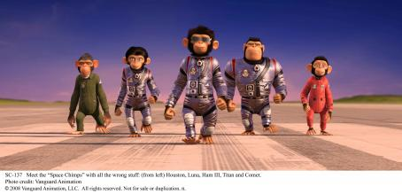 Patrick Warburton Meet the 'Space Chimps' with all the wrong stuff: (from left) Houston (voice by Zack Shada), Luna (voice by Cheryl Hines), Ham III (voice by Andy Samberg), Titan (voice by ) and Comet (voice by Carlos Alazraqui). Photo credit: Van