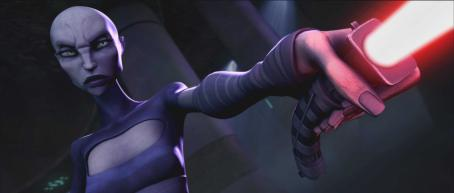 Star Wars: The Clone Wars Villainous Asajj Ventress threatens an enemy in a scene from the upcoming ',' the first-ever animated Star Wars project from Lucasfilm Animation and Star Wars creator George Lucas. '' will