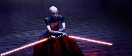 Star Wars: The Clone Wars Asajj Ventress, disciple of the dark side and sworn enemy of the Jedi, prepares to fight in a thrilling moment from '.' The Lucasfilm Animation production will be released Friday, Aug. 15, 2008, by Warner Bros. Pictures. ©