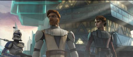 Star Wars: The Clone Wars Jedi Knight Obi-Wan Kenobi (center) and Anakin Skywalker (right) are joined by a clone trooper as they prepare for battle in the upcoming '.' The Lucasfilm Animation production will be released Friday, Aug. 15, 2008 by War