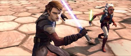 Ashley Eckstein Jedi Knight Anakin Skywalker and padawan learner Ahsoka prepare for an attack in a scene from the upcoming 'Star Wars: The Clone Wars.' The first animated project from George Lucas and Lucasfilm Animation will be released theatrically on Aug. 15 b