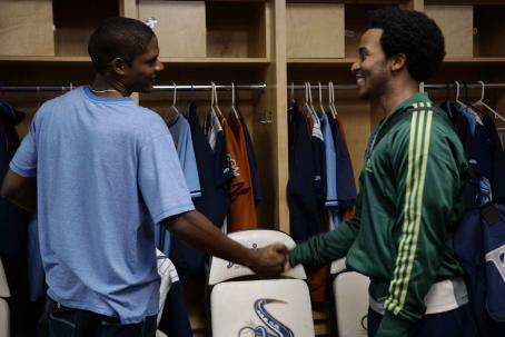 Sugar Left to Right: Algeniz Perez Soto as Miguel, Andre Holland as Brad. Photo taken by Fernando Calzada, 2007, Courtesy of Sony Pictures Classics. All Rights Reserved.