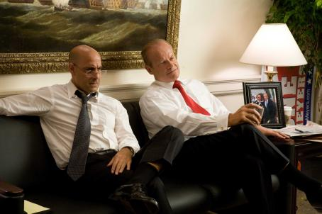 Stanley Tucci STANLEY TUCCI (left), KELSEY GRAMMER (right) in SWING VOTE. ©Swing Vote - The Movie Productions, LLC. All Rights Reserved. Photo credit: BEN GLASS