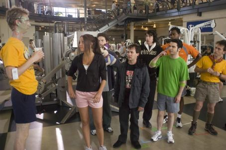 Samm Levine (L to R) Jeremy Howard, Amanda Bynes, Adam Hendershott, Danny Strong, Jack Carpenter, , Donte Bonner and Arnie Pantoja in Universal Pictures' Sydney White.