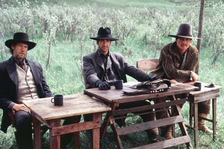 Robert Patrick From left to right, Randy Travis, Dylan McDermott and  in Dimension's Texas Rangers - 2001