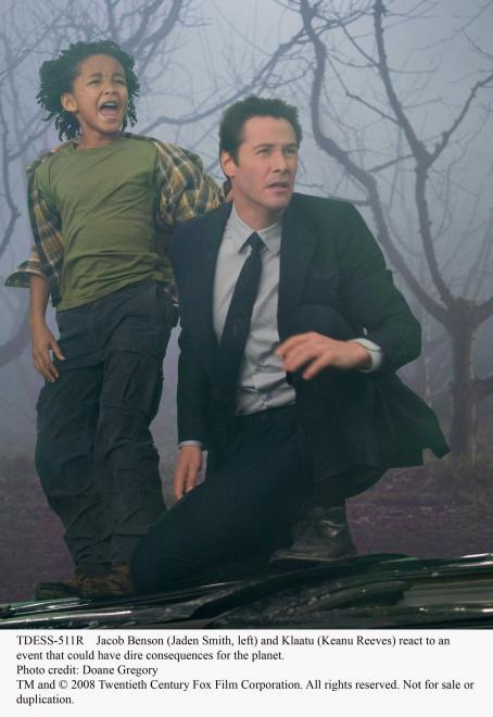 Jaden Smith Jacob Benson (, left) and Klaatu (Keanu Reeves) react to an event that could have dire consequences for the planet. Photo credit: Doane Gregory. TM and ©2008 Twentieth Century Fox Film Corporation. All rights reserved.