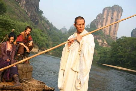 The Forbidden Kingdom Golden Sparrow (Crystal Liu, left), Jason Tripitikas (Michael A. Angarano) and Silent Monk (Jet Li) in THE FORBIDDEN KINGDOM. Photo credit: Chan Kam Chuen