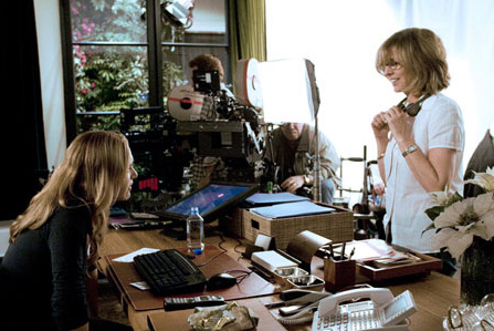 The Holiday Director and writer Nancy Meyers (right) behind the scene of ''