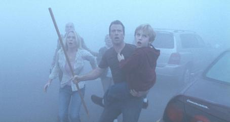 Laurie Holden , Thomas Jane and Nathan Gamble star in Frank Darabont's adaptation of Stephen King's The Mist. Photo by Ronn Schmidt/The Weinstein Company, 2007.