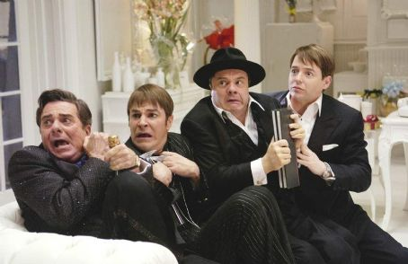 Roger Bart (L to R) Gary Beach as Roger De Bris,  as Carmen Ghia, Nathan Lane as Max Bialystock and Matthew Broderick as Leo Bloom.