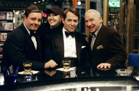 Mel Brooks (L to R) Nathan Lane as Max Bialystock, director and choreographer Susan Stroman, Matthew Broderick as Leo Bloom and writer, producer and composer  on set.