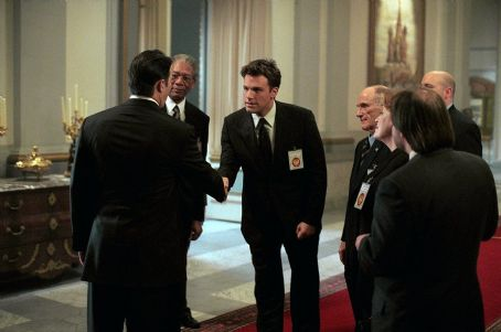 Ciarán Hinds (Center) Ben Affleck as Jack Ryan (left) Morgan Freeman as DCI William Cabot and (far left), Ciaran Hinds as President Nemerov in Paramount's The Sum of All Fears - 2002