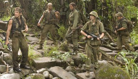 "Brandon T. Jackson Left to Right: Ben Stiller, , Robert Downey Jr., Jay Baruchel and Jack Black in the action comedy ""Tropic Thunder."""