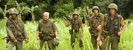 Brandon T. Jackson L to R: Robert Downey Jr., Jack Black, , Jay Baruchel and Ben Stiller in the scene of Tropic Thunder.