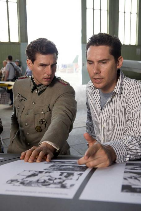 Bryan Singer Tom Cruise and director  on the set of United Artists' VALKYRIE. Photo by United Artists.