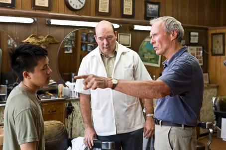 John Carroll Lynch (L-r) Thao (BEE VANG), Martin (JOHN CARROLL LYNCH) and Walt Kowalski (CLINT EASTWOOD) in Warner Bros. Pictures' and Village Roadshow Pictures' drama 'Gran Torino,' distributed by Warner Bros. Pictures. Photo by Anthony Michael Rivetti