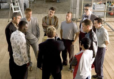 Elliott Gould (L-r) DON CHEADLE, GEORGE CLOONEY, BRAD PITT, CASEY AFFLECK, SCOTT CAAN, ELLIOTT GOULD, EDDIE JEMISON, MATT DAMON,  SHAOBO QIN and EDDIE IZZARD (back to camera) in 'Ocean's Twelve,' also starring Catherine Zeta-Jones, Andy Garcia, Bernie Mac a