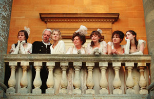 Carey Mulligan (from left to right) Jena Malone, Donald Sutherland, Rosamund Pike, Brenda Blethyn, , Keira Knightley and Talulah Riley star in Joe Wright's PRIDE & PREJUDICE, a Focus Features release. Photo: Alex Bailey.