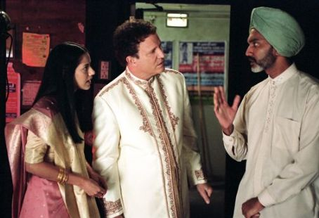Albert Brooks Sheetal Sheth as Maya,  as himself and Duncan Bravo as the Stage Manager in Brooks' Looking for Comedy in the Muslim World, a Warner Independent Pictures release. Photo credit: Lacey Terrell © 2005 Shangri-La Entertainment, LLC.