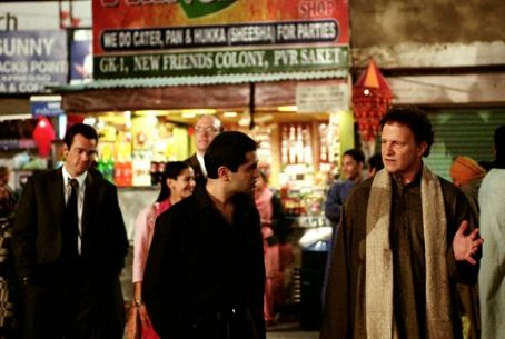 Albert Brooks Background (L to R): John Tenney as Mark and Sheetal Sheth as Maya.  Foreground (L to R): Homie Doroodian as Mageed and  as himself in Brooks' Looking for Comedy in the Muslim World, a Warner Independent Pictures release. Photo credit: