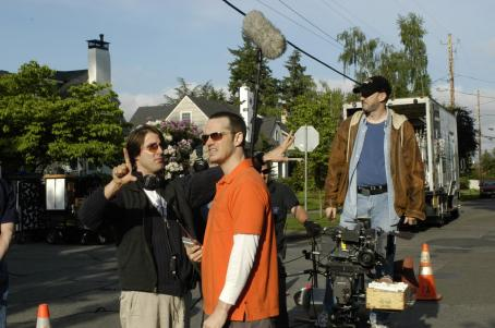Peter Paige Producer Christopher Racster and Writer/Director/Star  on the set of SAY UNCLE