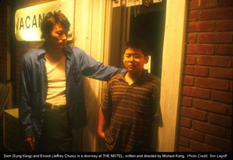 The Motel Sam (Sung Kang) and Ernest (Jeffrey Chyau) in a doorway at , written and directed by Michael Kang. Photo Credit: Tom Legoff.