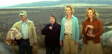 Kathy Bates Emmett (Tom Skerritt), Margene (), Carol (Joan Allen), and Arvilla (Jessica Lange) marvel at the beauty of Joshua Tree in a scene from 'Bonneville,' a SenArt Films Release.