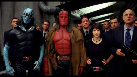 Doug Jones  as Abe Sapien, Ron Perlman as Hellboy, Selma Blair as Liz Sherman and Jeffrey Tambor as Tom Manning in Universal Pictures' Hellboy 2: The Golden Army.