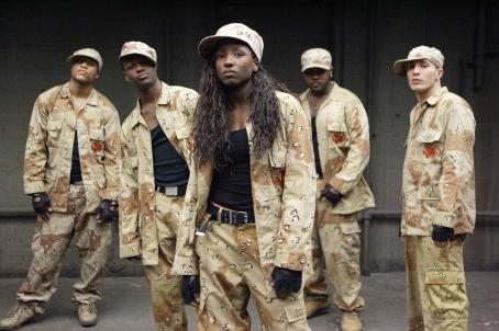"Shawn Fernandez From L to R: Dwain Murphy as ""Bishop"", Daniel Morrison as ""Wayne"", Rutina Wesley as ""Raya"", Tristan D. Lalla as "" 'Big Man' Manny"", and Shawn Desman as ""Trey"" star in ""How She M"