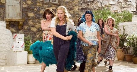 Christine Baranski JULIE WALTERS as Rosie Rice, MERYL STREEP as Donna Sheridan and CHRISTINE BARANSKI as Tanya Chesham-Leigh in the musical romantic comedy that celebrates mothers and daughters, old friends and new family found—Mamma Mia!