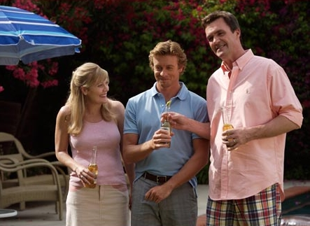 Neil Flynn Simon Baker (center) and  (right) in the scene of Sex and Death 101.