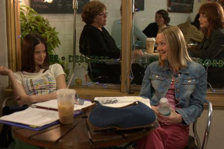 Katherine Waterston  with Louisa Krause in the scene Peace Arch Releasing 'The Babysitters.'