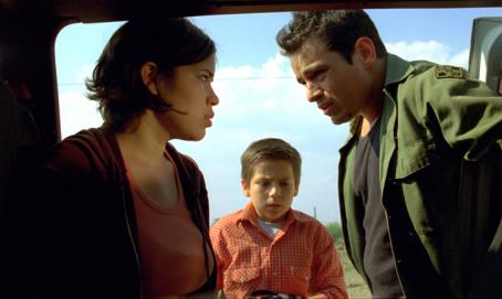 Adrian Alonso America Ferrera and Jesse Garcia try to help with crossing the border.