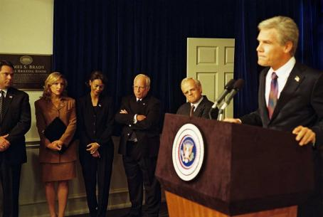 Toby Jones George W. Bush (Josh Brolin, far right) with Karl Rove (, second from right), Dick Cheney (Richard Dreyfuss, third from right) and Condoleezza Rice (Thandie Newton, fourth from right) in W. Photo credit: Sidney Ray Baldin