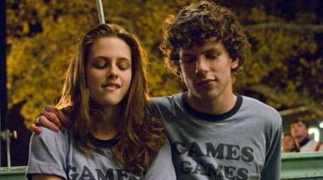 Jesse Eisenberg Kristen Stewart as Em Lewin, and  as James Brennan in Adventureland.