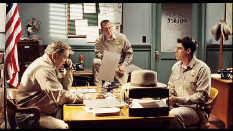 Dan Lauria  as Officer Dawson, Robert Patrick as Officer Vernon and Sage Brocklebank as Stu in ALIEN TRESPASS, directed by R.W. Goodwin. Courtesy of Roadside Attractions