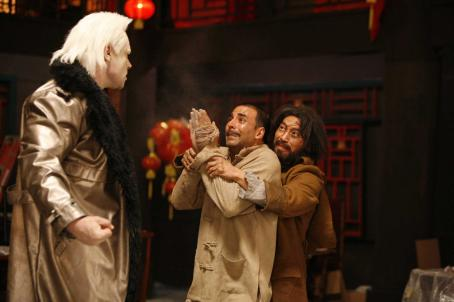 Akshay Kumar Sidhu (AKSHAY KUMAR) pleads to Joey (CONAN STEVENS) in the action comedy 'Chandni Chowk to China,' a Warner Bros. Pictures release. Photo by Sheena Sippy