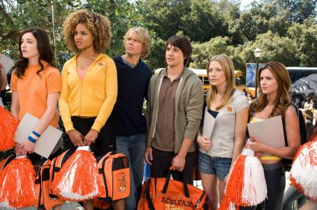 Nicholas D'Agosto (l to r) Margo Harshman, Hayley Marie Norman, Eric Christian Olsen, Nicholas D'Agosto, Sarah Roemer and Danneel Harris star in Screen Gems' comedy FIRED UP. Photo credit: Suzanne Tenner. © 2009 Screen Gems, Inc.  All rights reserved.