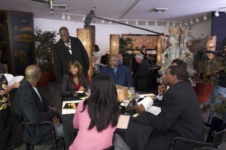 Bill Duke (L to R) Morris Chestnut, Director  (standing), Taraji P. Henson and T.D. Jakes in TriStar Pictures' drama NOT EASILY BROKEN. Photo By: Ron Phillips